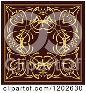 Clipart Of An Ornate Gold And Brown Tile Design 2 Royalty Free Vector Illustration by leonid