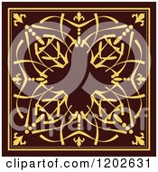 Ornate Gold And Brown Tile Design