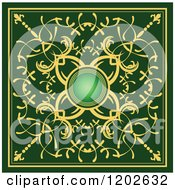 Ornate Gold And Green Tile Design