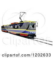 Clipart Of A Tram Car On A Track Royalty Free Vector Illustration by leonid