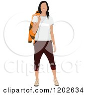 Clipart Of A Happy Casual Faceless Woman Holding An Orange Sweater Over Her Shoulder Royalty Free Vector Illustration by leonid