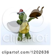 Clipart Of A 3d Christmas Tortoise Serving A Roasted Turkey Royalty Free CGI Illustration