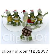 Clipart Of 3d Christmas Tortoises Singing Carols Royalty Free CGI Illustration