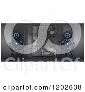 Clipart Of 3d Blue Android Robots Guarding A Bank Safe Vault Royalty Free CGI Illustration