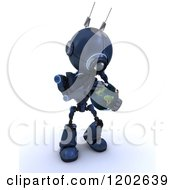 Clipart Of A 3d Blue Android Robot Holding An Earth Globe Royalty Free CGI Illustration