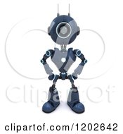 Clipart Of A 3d Blue Android Robot Standing Guard Royalty Free CGI Illustration