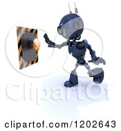 Clipart Of A 3d Blue Android Robot Reaching For An Rss Feed Button Royalty Free CGI Illustration