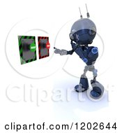 Clipart Of A 3d Blue Android Robot Thinking In Front Of Accept And Reject Buttons Royalty Free CGI Illustration