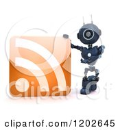 Clipart Of A 3d Blue Android Robot Presenting An RSS Icon Royalty Free CGI Illustration