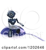 Clipart Of A 3d Blue Android Robot Sitting On A Computer Mouse Royalty Free CGI Illustration