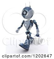 Clipart Of A 3d Blue Android Robot Carrying A Shopping Basket Royalty Free CGI Illustration