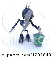 3d Blue Android Robot Dropping A Can In A Recycle Bin