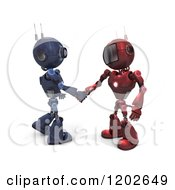 Clipart Of 3d Blue And Red Android Robots Shaking Hands Royalty Free CGI Illustration