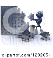 Poster, Art Print Of 3d Blue Android Robot Building A Jigsaw Puzzle Wall