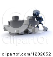 Poster, Art Print Of 3d Blue Android Robot Pushing Puzzle Pieces Together