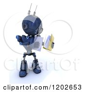 Clipart Of A 3d Blue Android Robot Holding Documents Royalty Free CGI Illustration