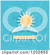 Clipart Of A Sun And Wave Over Grungy Blue Polka Dots And Summertime Text Royalty Free Vector Illustration
