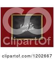 Clipart Of A 3d Back To School Black Board On Grungy Red Royalty Free Vector Illustration