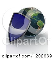 Clipart Of A 3d Globe Featuring The Americas And A Blue Security Shield On Shaded White Royalty Free CGI Illustration