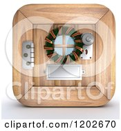 Clipart Of A 3d Wooden Door With A Christmas Wreath Royalty Free CGI Illustration by KJ Pargeter