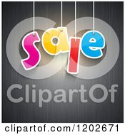 Clipart Of A Colorful Hanging SALE Sign Over Gray Wood Panels Royalty Free Vector Illustration