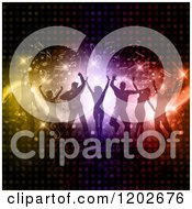 Clipart Of Silhouetted Dancers Over Circle Lights And Music Notes Royalty Free Vector Illustration
