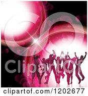 Clipart Of Silhouetted Dancers Over Pink Flares On Black Royalty Free Vector Illustration by KJ Pargeter