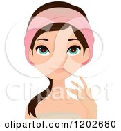Clipart Of A Young Brunette Woman With Blue Eyes Wearing A Spa Headband And Towel Royalty Free Vector Illustration
