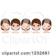 Clipart Of A Young Brunette Woman With Blue Eyes Showing Different Facial Expressions Royalty Free Vector Illustration
