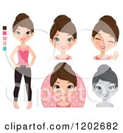 Clipart Of A Young Brunette Woman With Blue Eyes In Different Poses Royalty Free Vector Illustration