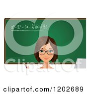 Brunette Female Teacher With Blue Eyes In Front Of A Math Chalkboard