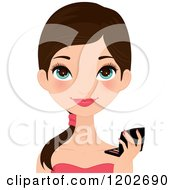 Clipart Of A Young Brunette Woman With Blue Eyes Holding A Makeup Compact Royalty Free Vector Illustration by Melisende Vector