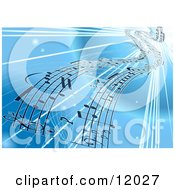 Background Of Sheet Music Over Blue Clipart Illustration