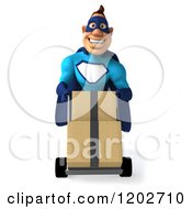Clipart Of A 3d Super Hero Man In A Blue Costume Moving Boxes On A Dolly Royalty Free CGI Illustration