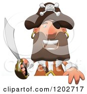 Cartoon Of A Happy Pirate Man Holding A Sword Over A Sign Royalty Free Clipart