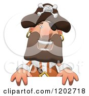 Cartoon Of A Happy Pirate Man Over A Sign Royalty Free Clipart
