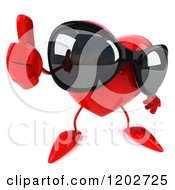 Clipart Of A 3d Heart Mascot Wearing Sunglasses And Holding A Thumb Up Royalty Free CGI Illustration