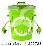 Clipart Of A 3d Recycle Bin Character Royalty Free CGI Illustration