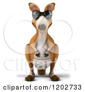 Clipart Of A 3d Aussie Kangaroo Wearing Sunglasses Royalty Free CGI Illustration