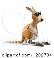 Clipart Of A 3d Aussie Kangaroo Wearing Sunglasses And Facing Right Royalty Free CGI Illustration