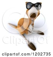 Clipart Of A 3d Aussie Kangaroo Wearing Sunglasses And Looking Up Royalty Free CGI Illustration