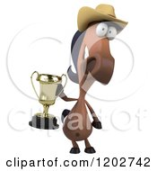 Clipart Of A 3d Happy Horse Wearing A Cowboy Hat And Holding A Trophy Royalty Free CGI Illustration