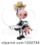 Clipart Of A 3d Cow Mascot Wearing A Cowboy Hat And Holding A Plate Royalty Free CGI Illustration