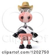 3d Cow Mascot Wearing A Cowboy Hat
