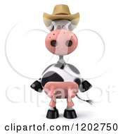 Clipart Of A 3d Cow Mascot Wearing A Cowboy Hat Royalty Free CGI Illustration by Julos