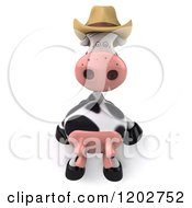 Clipart Of A 3d Cow Mascot Wearing A Cowboy Hat And Sitting On A Ledge Or Sign Royalty Free CGI Illustration