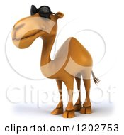 Clipart Of A 3d Camel Wearing Sunglasses And Facing Left Royalty Free CGI Illustration