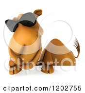 Clipart Of A 3d Camel Wearing Sunglasses And Smiling Over A Sign Royalty Free CGI Illustration
