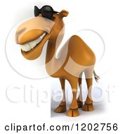 Clipart Of A 3d Camel Wearing Sunglasses And Smiling By A Sign Royalty Free CGI Illustration
