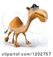Clipart Of A 3d Camel Wearing Sunglasses And Walking Royalty Free CGI Illustration